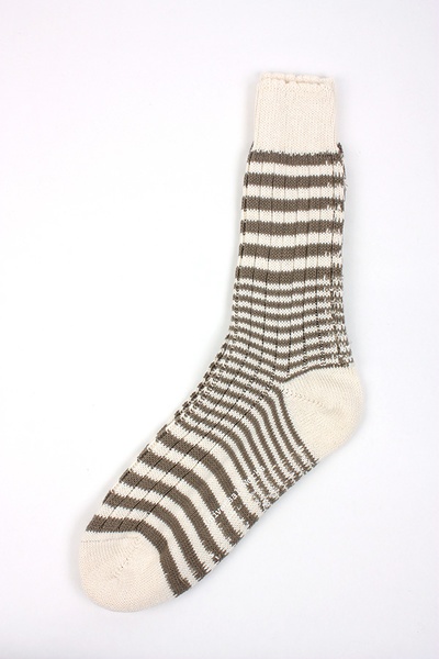 UNIVERSAL WORKS - STRIPE SOCK ECRU/METAL