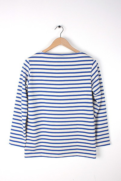 ORCIVAL - L/S STRIPED TEE ECRU/BLEU FRANCE
